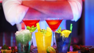 barman, cocktails, blue, yellow, red